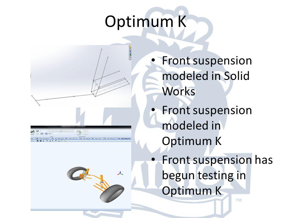 Optimum K Front suspension modeled in Solid Works