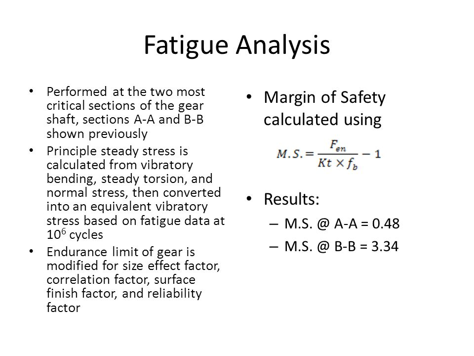 Fatigue Analysis Margin of Safety calculated using Results: