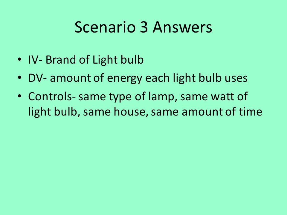 Scenario 3 Answers IV- Brand of Light bulb