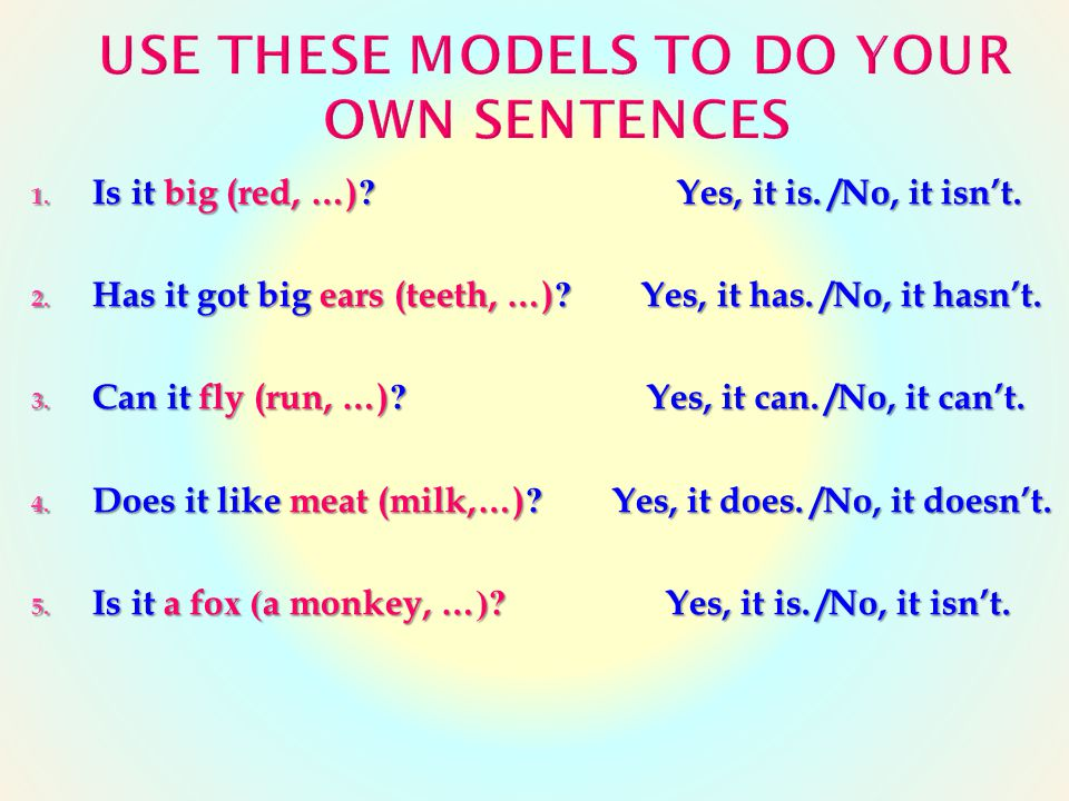 use these models to do your own sentences