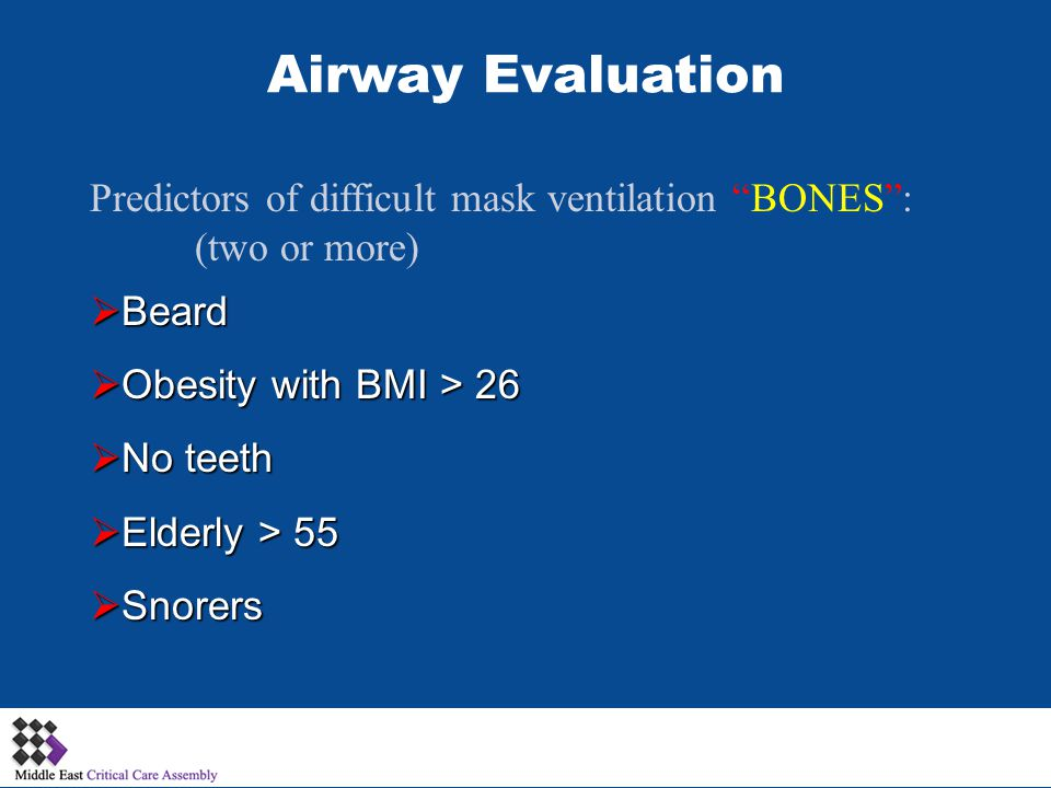 Airway Evaluation Predictors of difficult mask ventilation BONES :