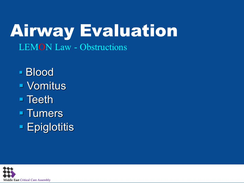 Airway Evaluation Vomitus Teeth Tumers Epiglotitis
