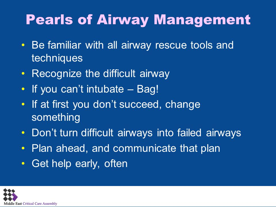 Pearls of Airway Management