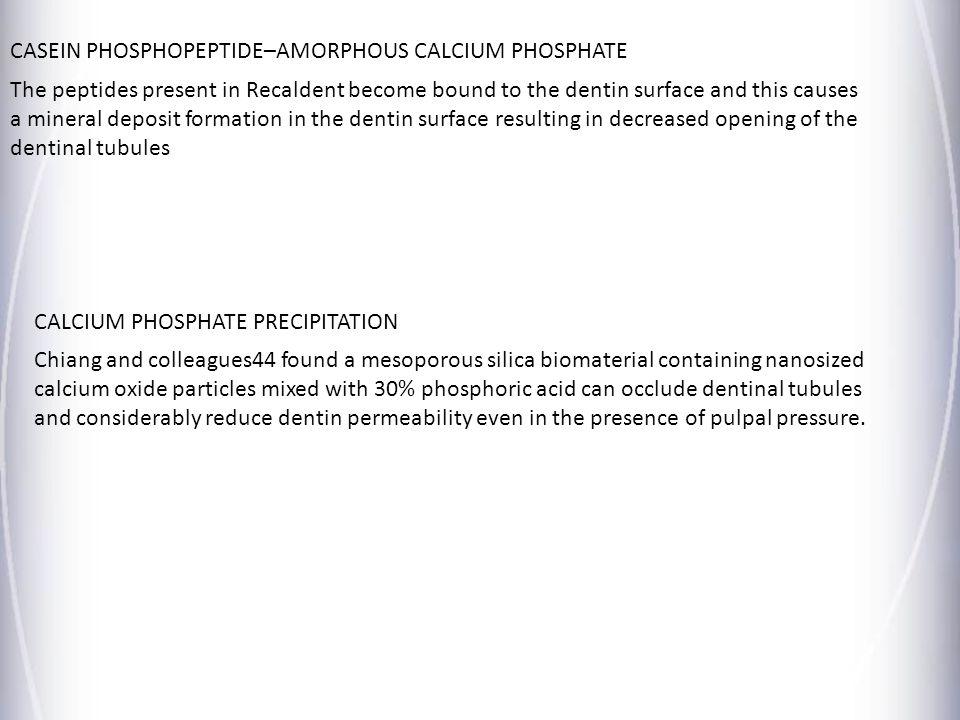 CASEIN PHOSPHOPEPTIDE–AMORPHOUS CALCIUM PHOSPHATE