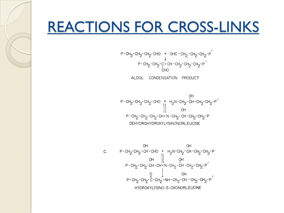 REACTIONS FOR CROSS-LINKS