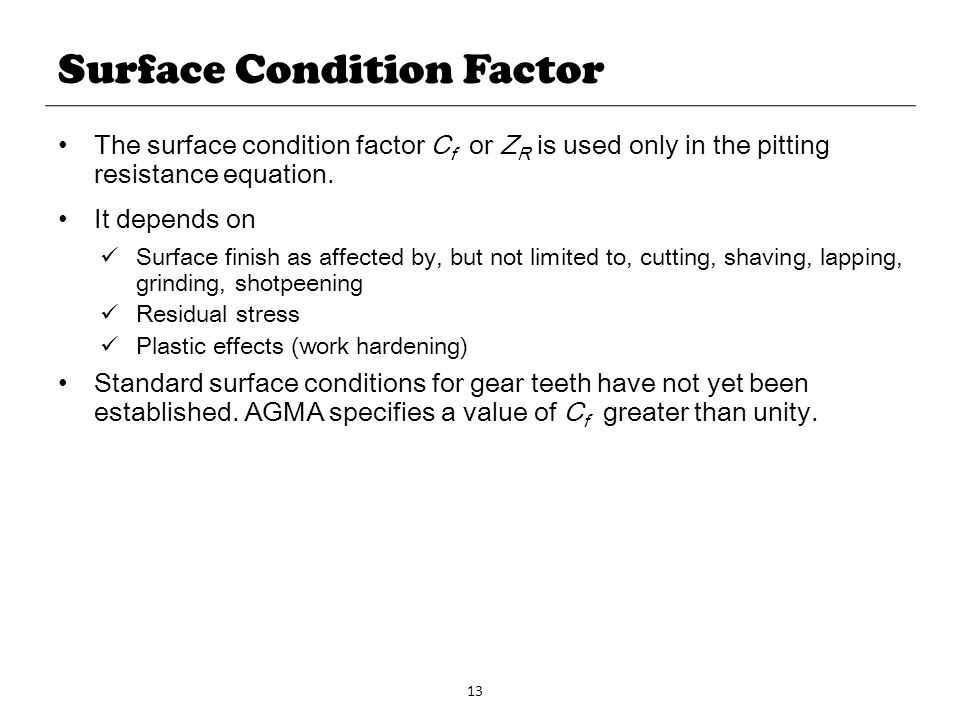 Surface Condition Factor