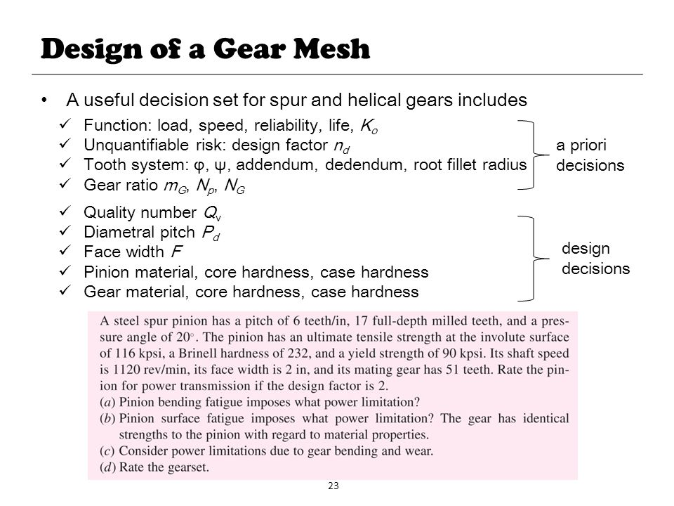 Design of a Gear Mesh A useful decision set for spur and helical gears includes. Function: load, speed, reliability, life, Ko.