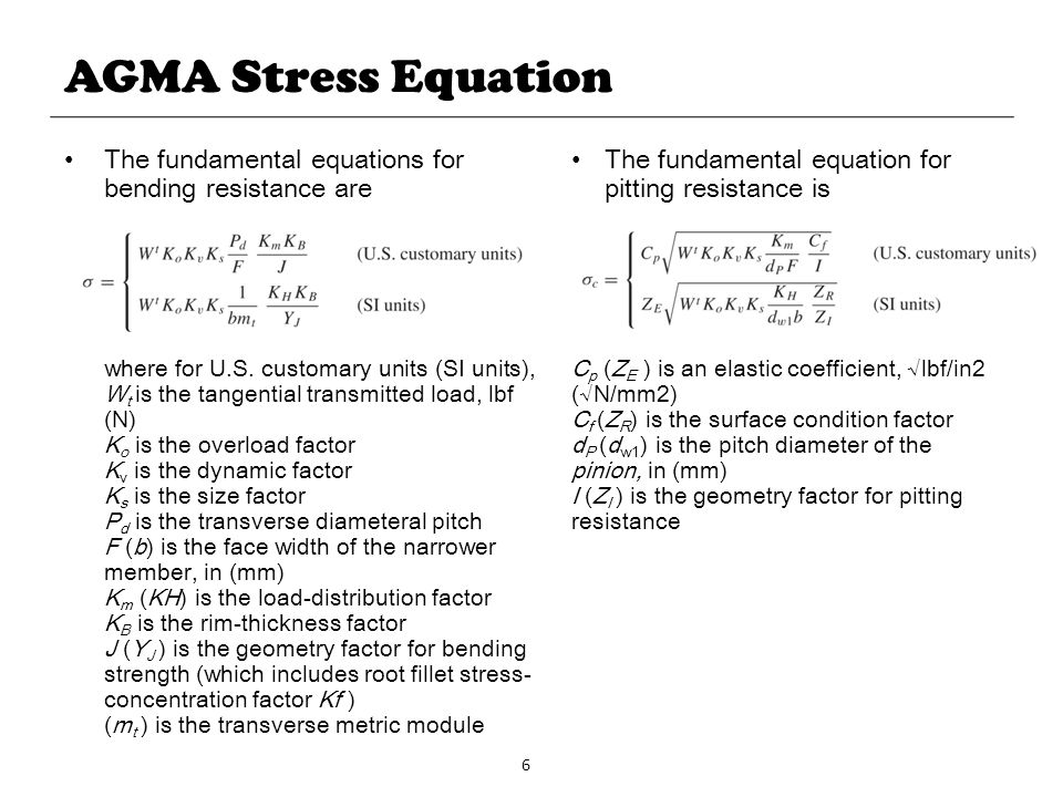 AGMA Stress Equation The fundamental equations for bending resistance are. (mt ) is the transverse metric module.