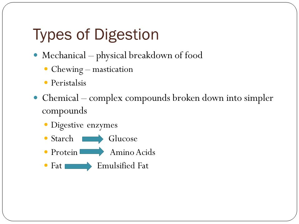 Types of Digestion Mechanical – physical breakdown of food