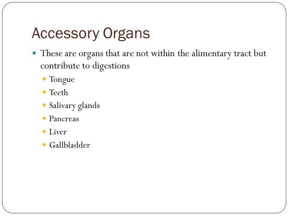 Accessory Organs These are organs that are not within the alimentary tract but contribute to digestions.