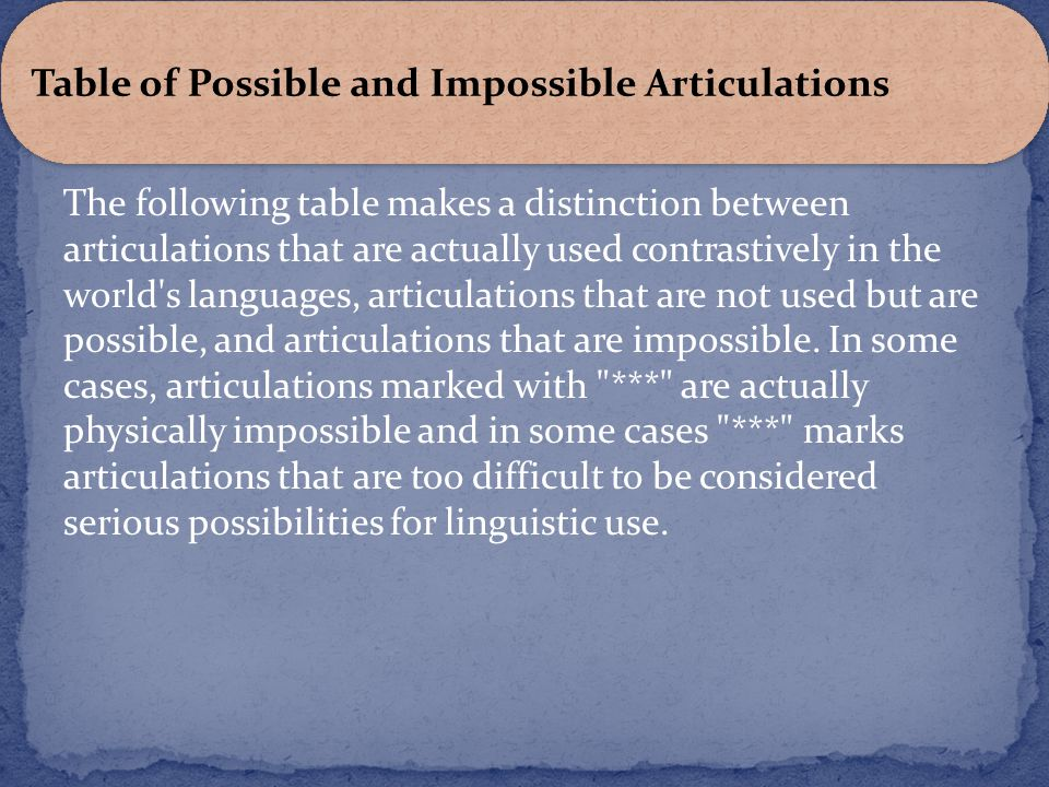 Table of Possible and Impossible Articulations
