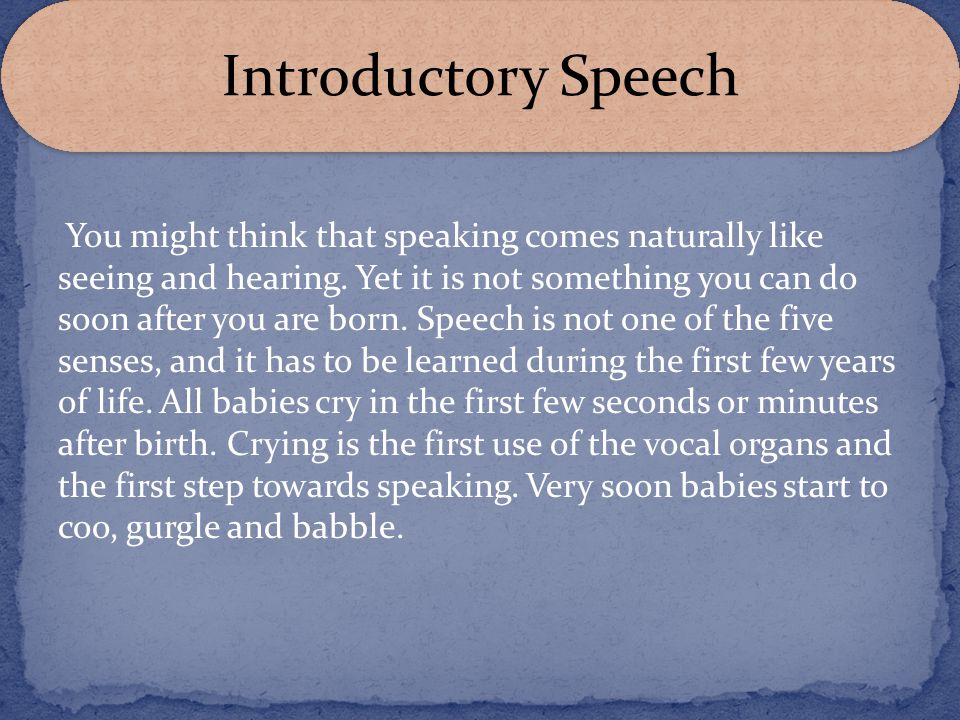 Introductory Speech