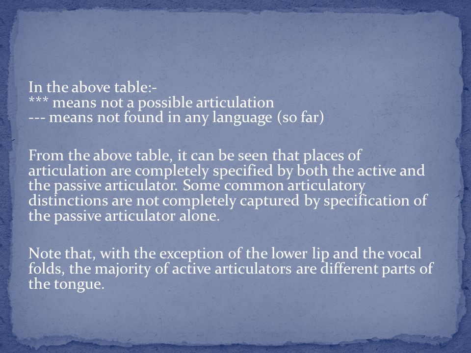 In the above table:- *** means not a possible articulation --- means not found in any language (so far) From the above table, it can be seen that places of articulation are completely specified by both the active and the passive articulator.
