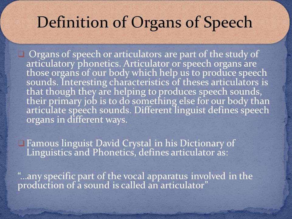 Definition of Organs of Speech