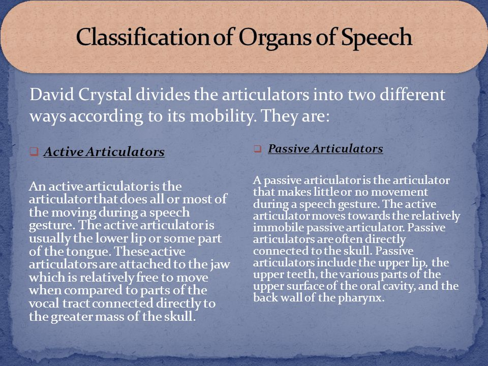 Classification of Organs of Speech