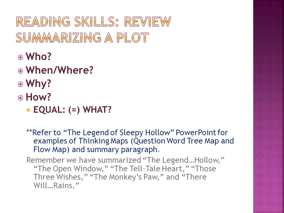 Reading Skills: Review Summarizing a Plot