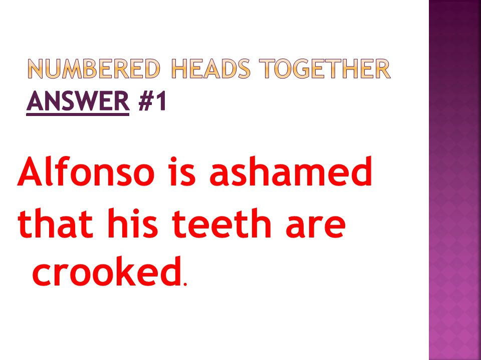 Numbered Heads Together Answer #1