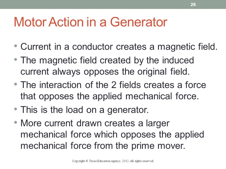 Motor Action in a Generator