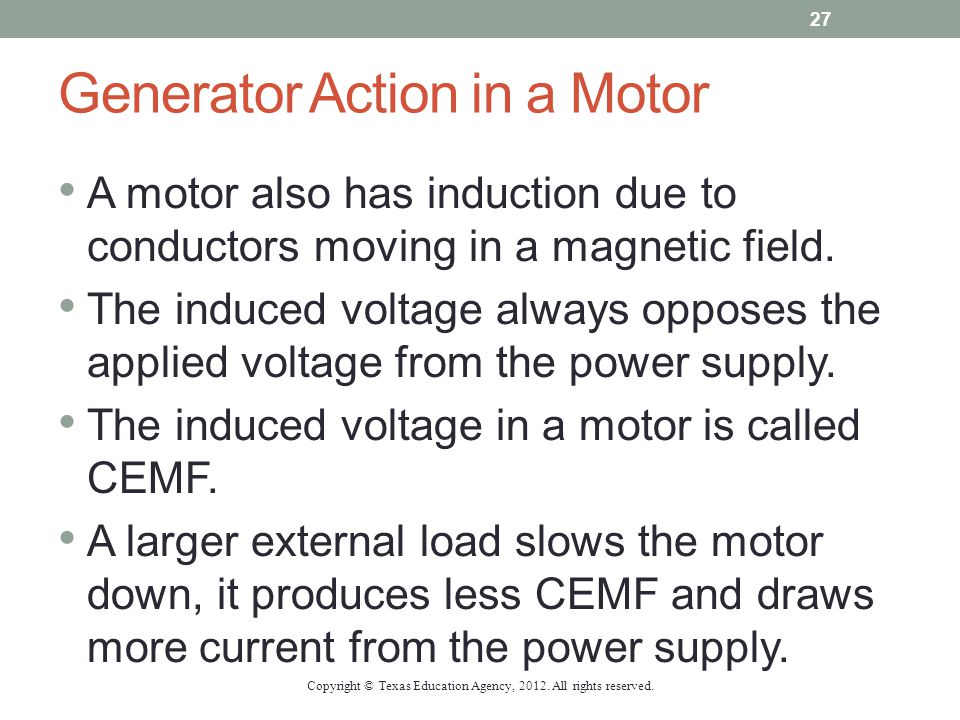 Generator Action in a Motor