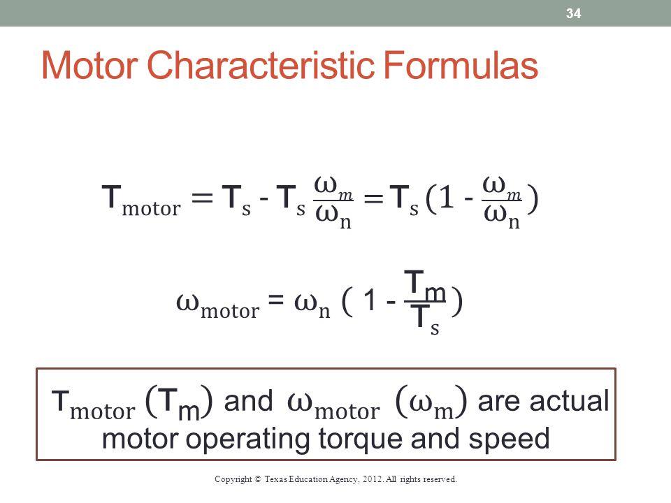 Motor Characteristic Formulas