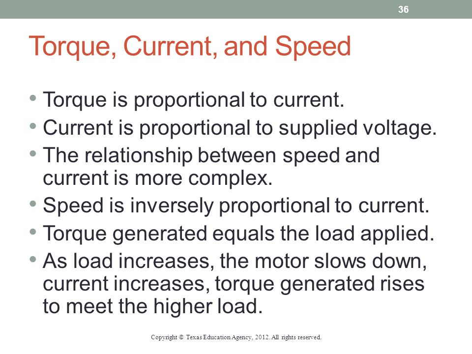 Torque, Current, and Speed