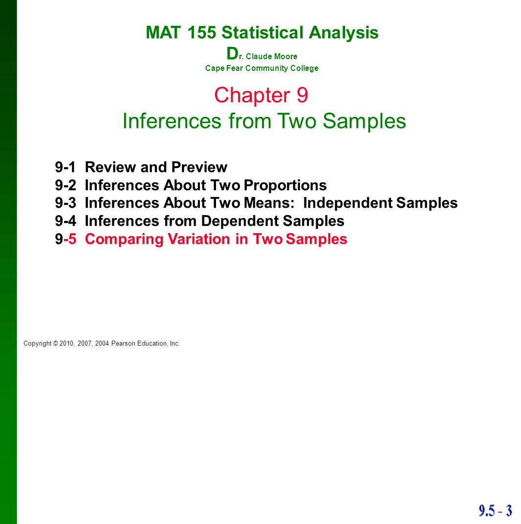 MAT 155 Statistical Analysis Cape Fear Community College