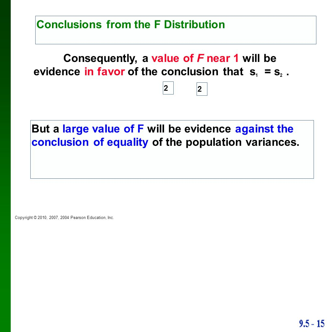 Conclusions from the F Distribution