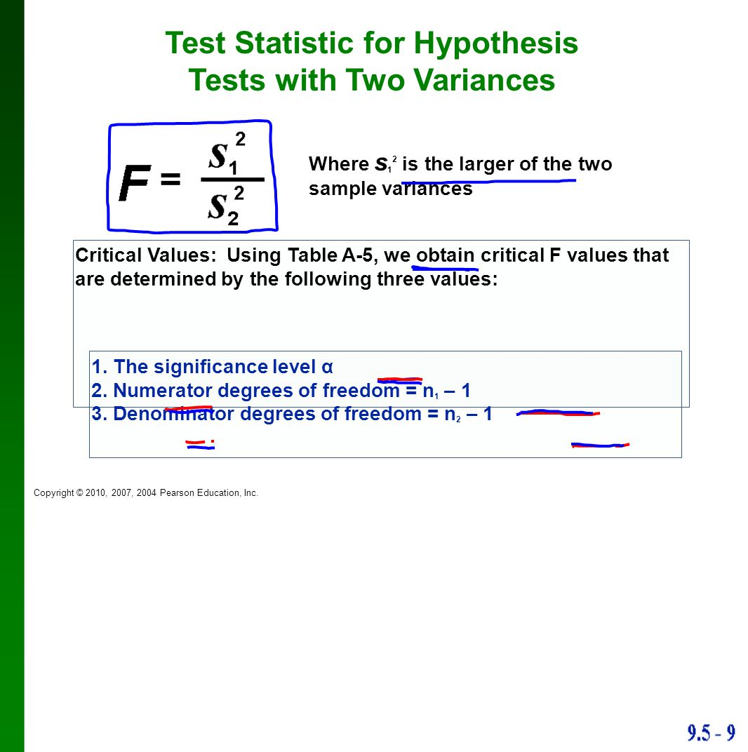 Test Statistic for Hypothesis Tests with Two Variances