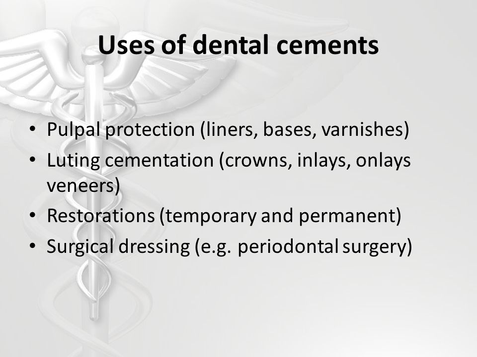 Uses of dental cements Pulpal protection (liners, bases, varnishes)