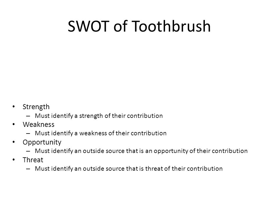 SWOT of Toothbrush Strength Weakness Opportunity Threat