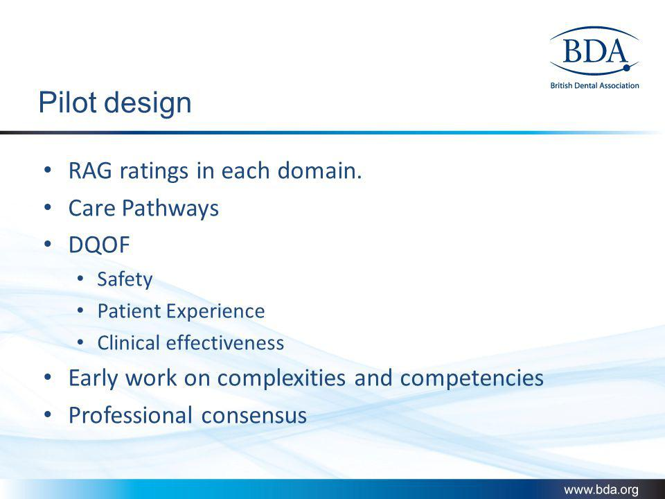 Pilot design RAG ratings in each domain. Care Pathways DQOF