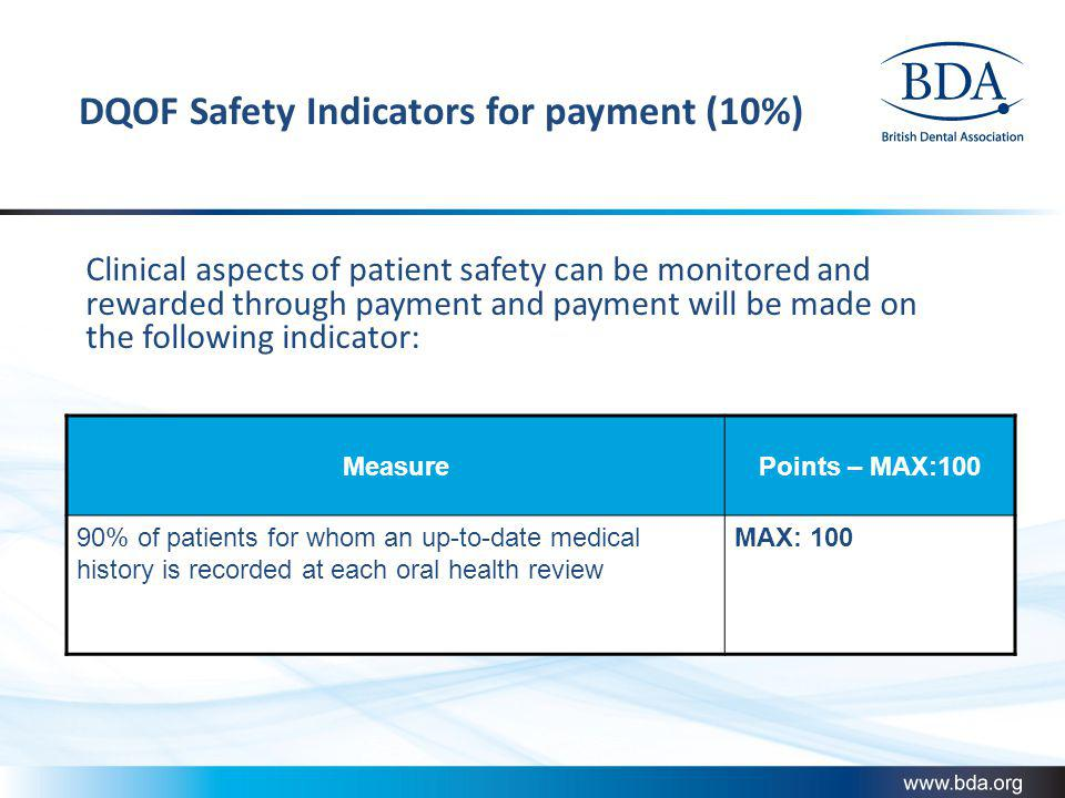 DQOF Safety Indicators for payment (10%)