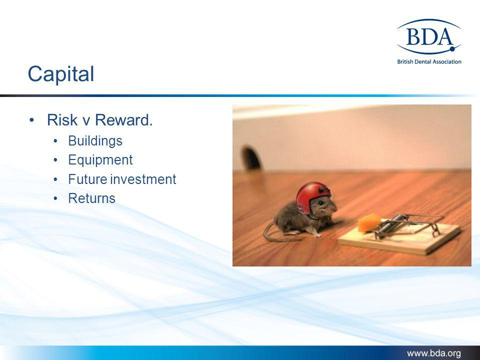 Capital Risk v Reward. Buildings Equipment Future investment Returns