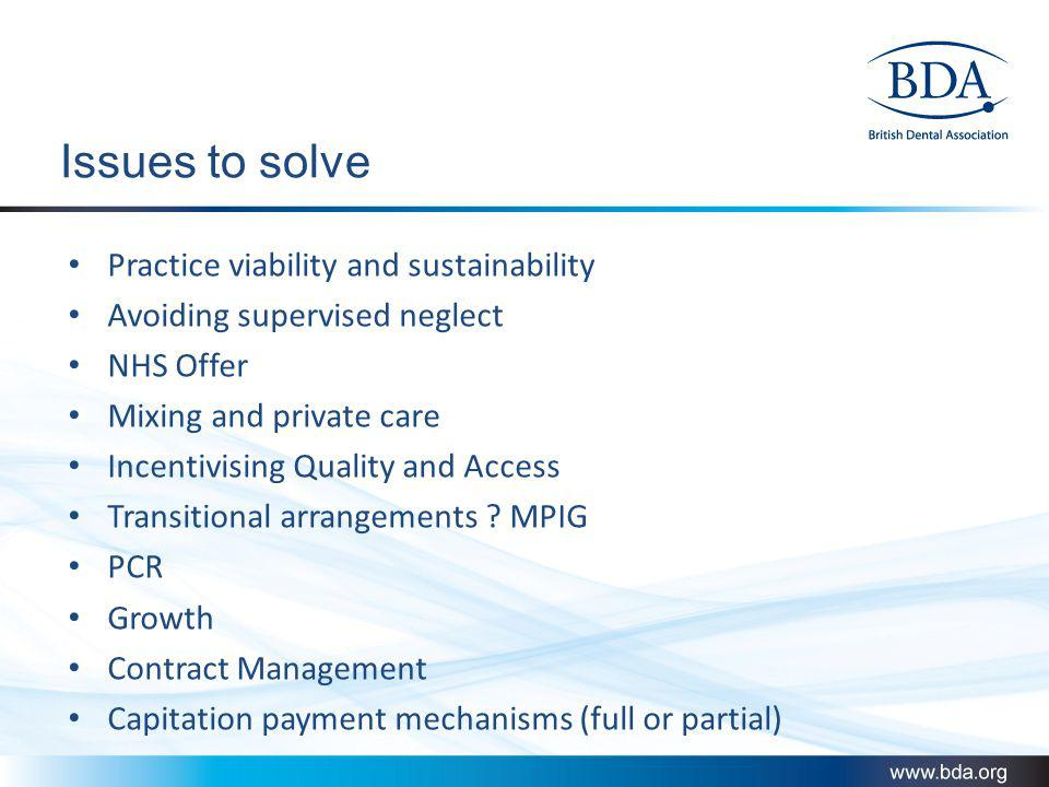 Issues to solve Practice viability and sustainability