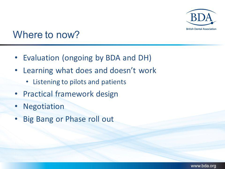 Where to now Evaluation (ongoing by BDA and DH)
