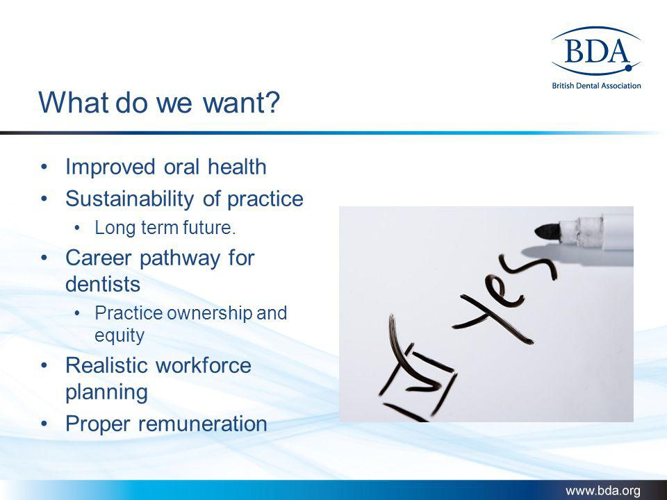 What do we want Improved oral health Sustainability of practice