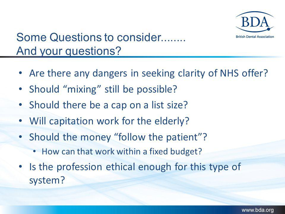 Some Questions to consider........ And your questions