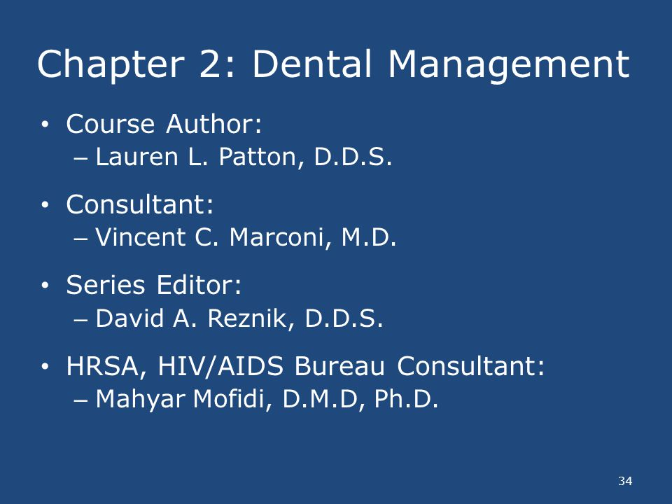 Chapter 2: Dental Management