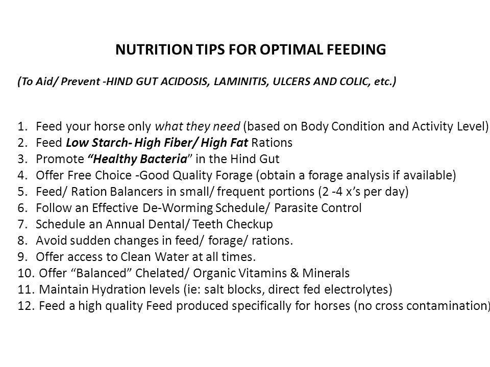 NUTRITION TIPS FOR OPTIMAL FEEDING