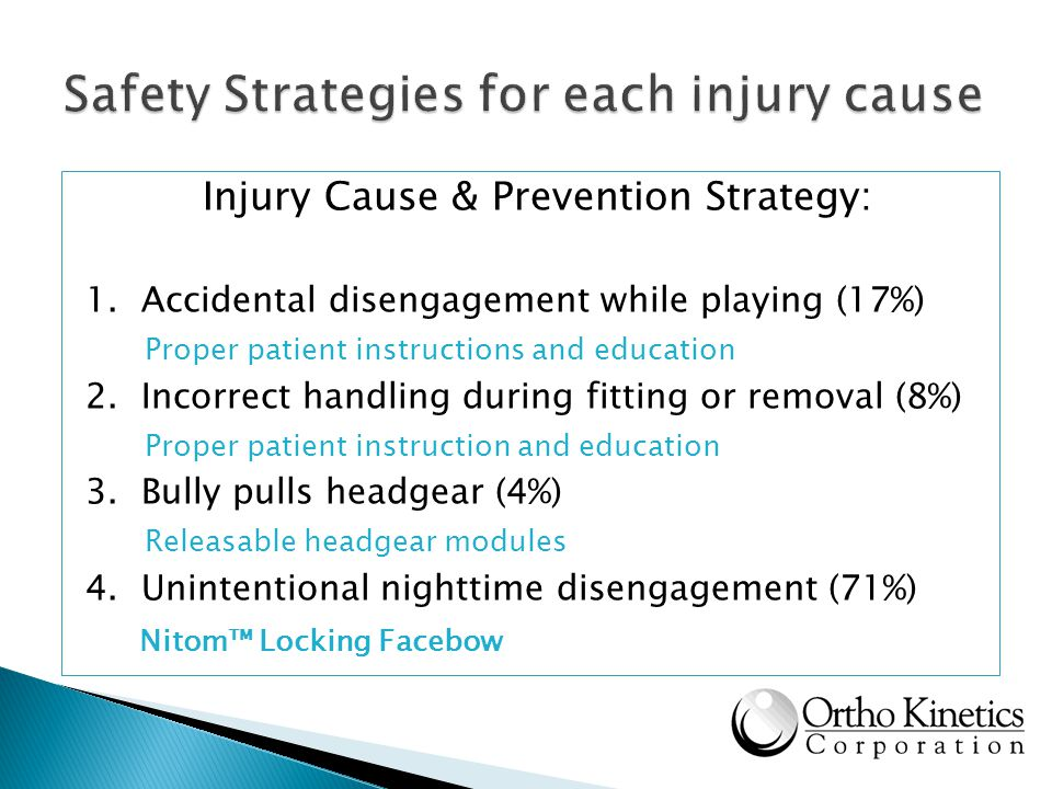 Safety Strategies for each injury cause