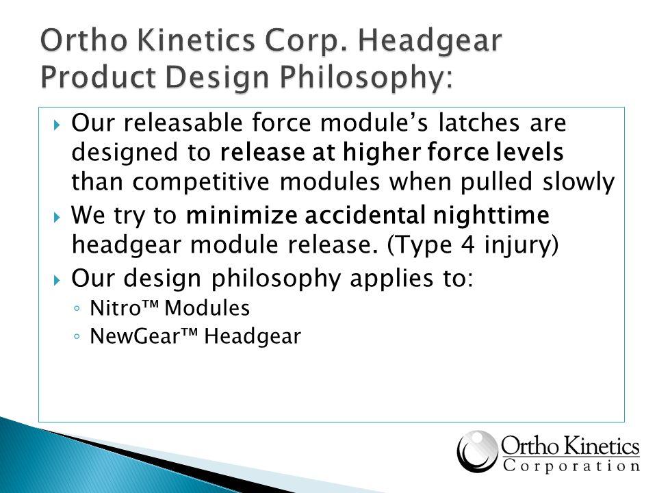 Ortho Kinetics Corp. Headgear Product Design Philosophy: