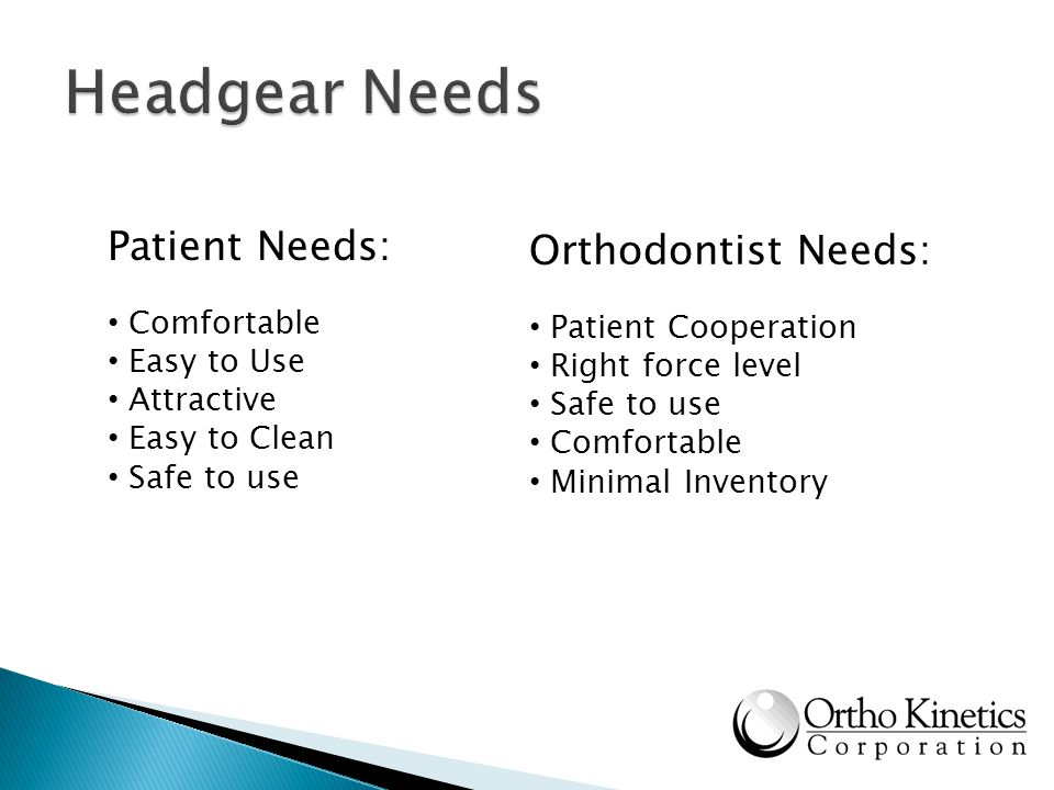 Headgear Needs Patient Needs: Orthodontist Needs: Comfortable