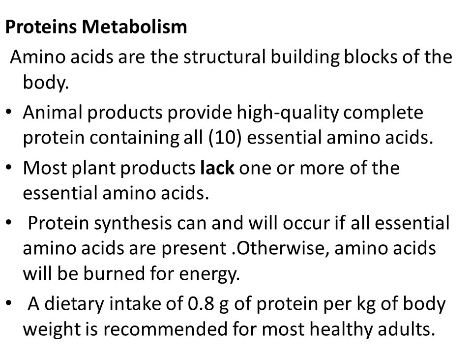 Proteins Metabolism Amino acids are the structural building blocks of the body.