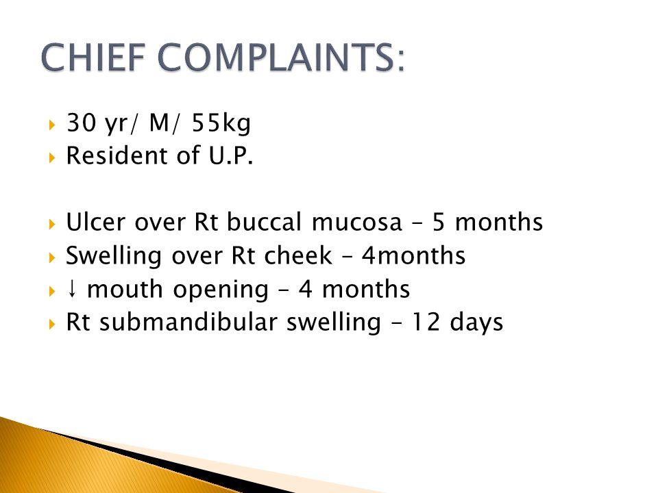CHIEF COMPLAINTS: 30 yr/ M/ 55kg Resident of U.P.