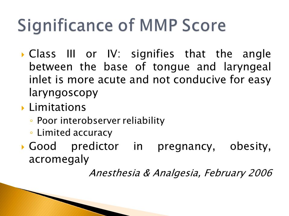 Significance of MMP Score
