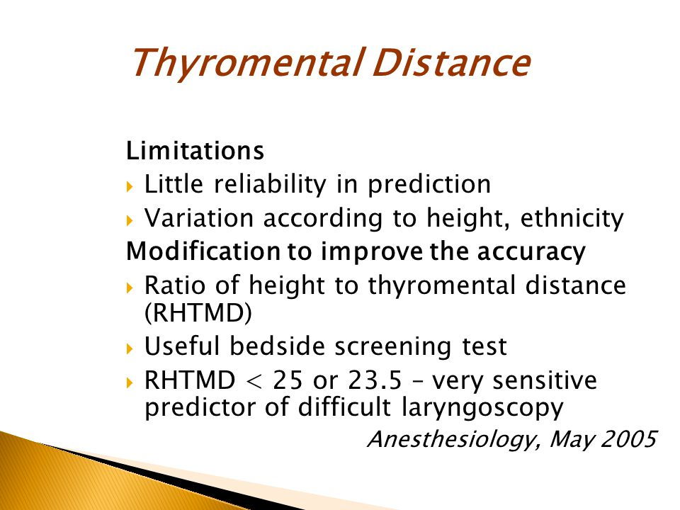 Thyromental Distance Limitations Little reliability in prediction
