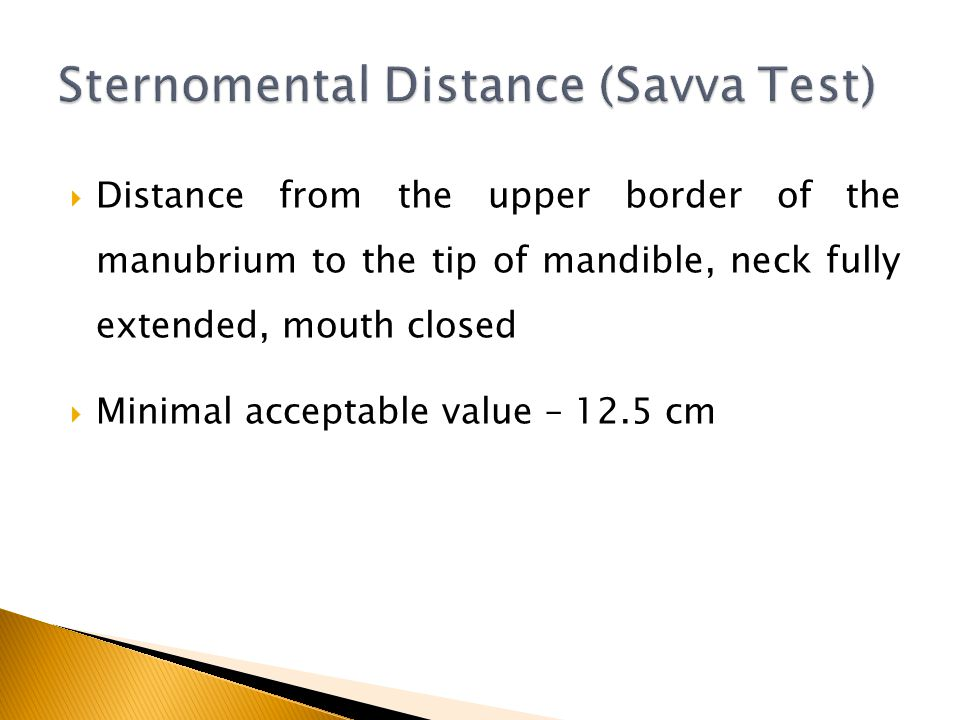 Sternomental Distance (Savva Test)