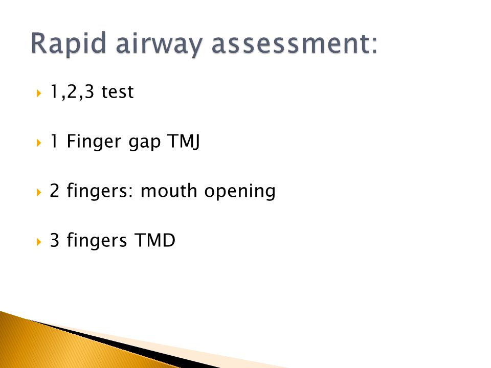 Rapid airway assessment: