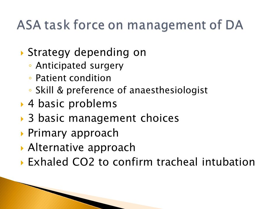 ASA task force on management of DA