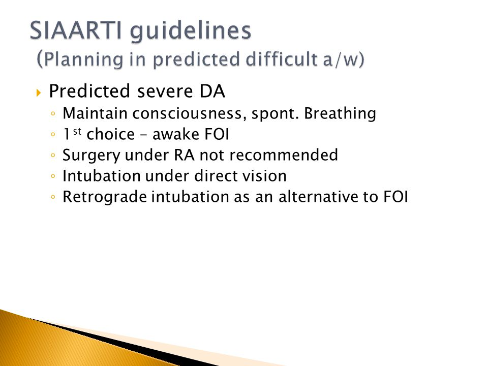 SIAARTI guidelines (Planning in predicted difficult a/w)